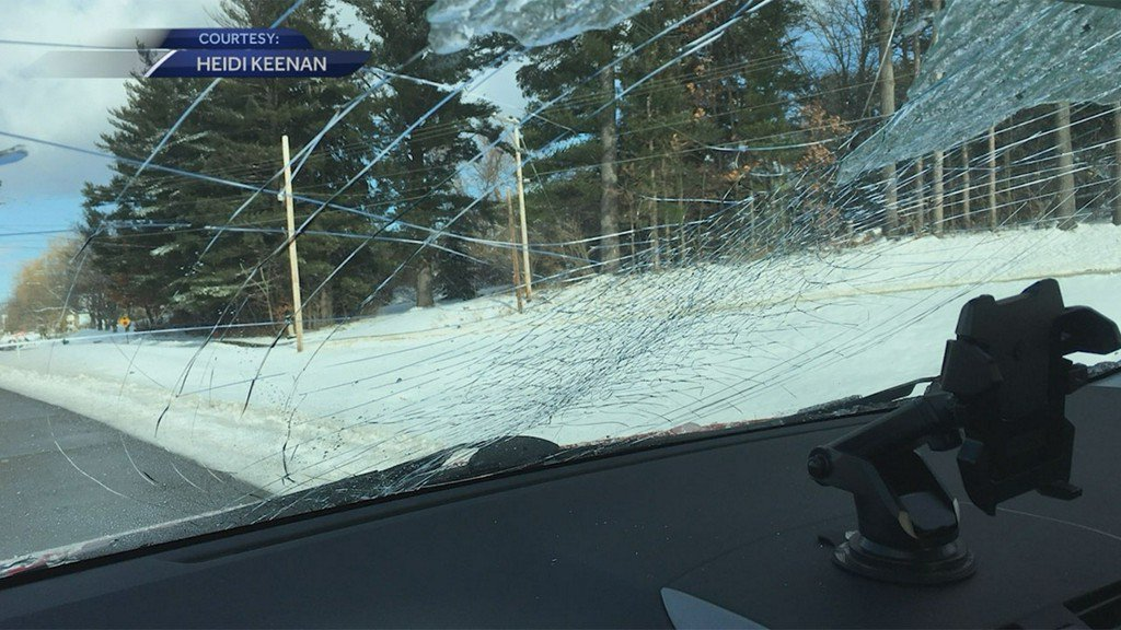 Close call: Huge slab of ice flies right into a woman's car https://t.co/xX7aawmGqY