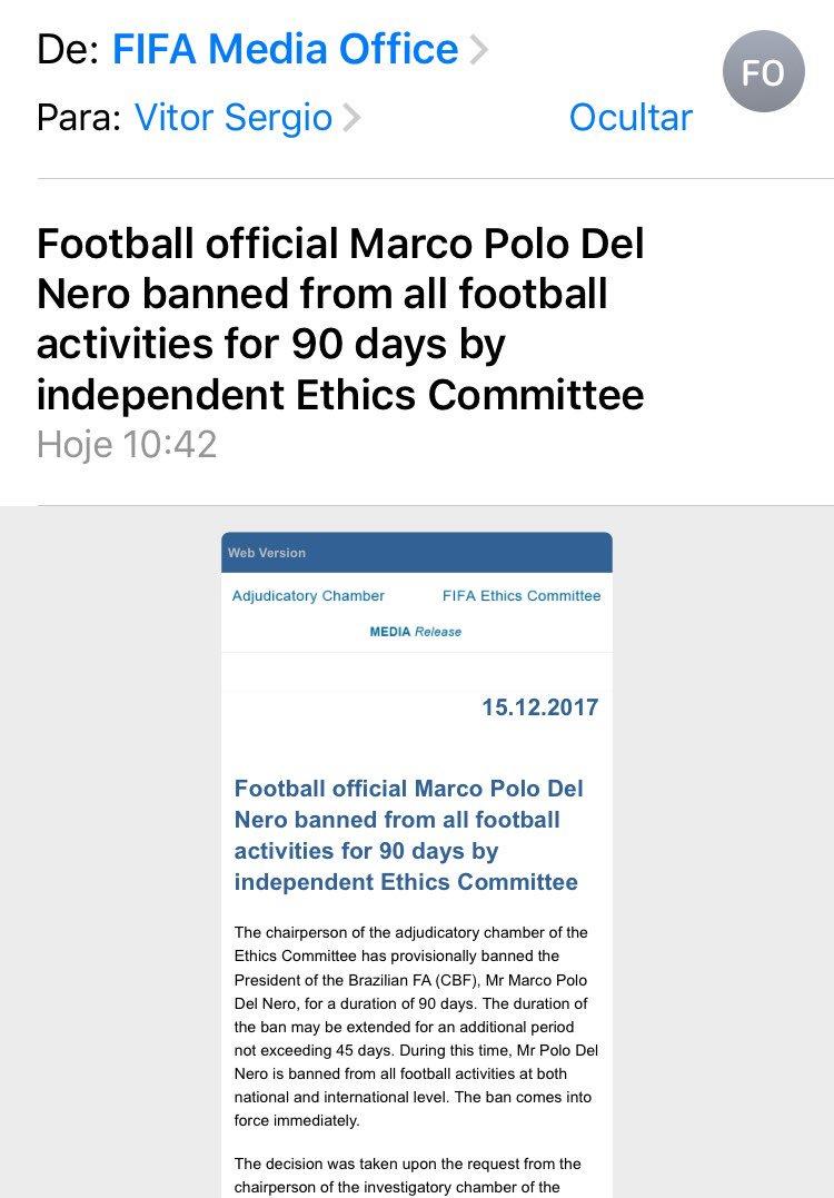 Fifa resolveu se mexer contra o que estava escancarado: baniu Marco Polo Del Nero por 90 dias enquanto é investigado pelo Comitê de Ética.
