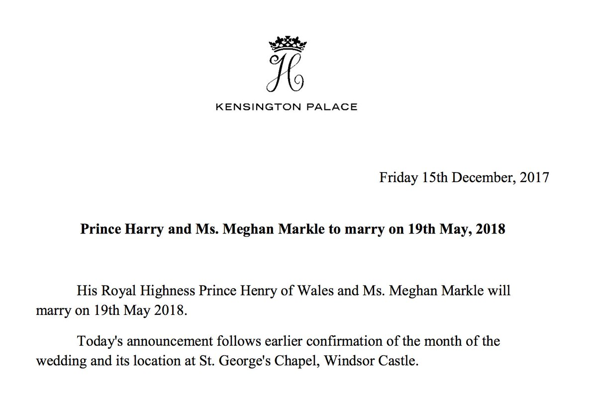 JUST IN: Prince Harry and Meghan Markle to marry on May 19, 2018!