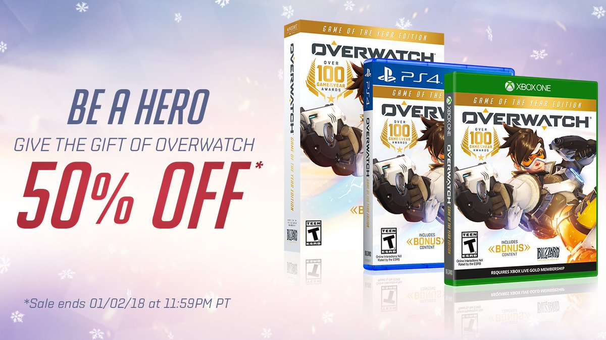 🎶 Tis the season to be saving... 🎶  Give the gift of Overwatch and get 50% off through January 2!  🎁 blizz.ly/BuyOverwatch