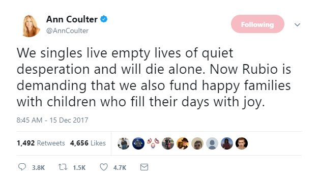 Ann Coulter&#39;s tweet just made every single person stop &amp; reevaluate their lives all at once.   #AnnCoulter #FridayFeeling <br>http://pic.twitter.com/YkE2lAmlrR