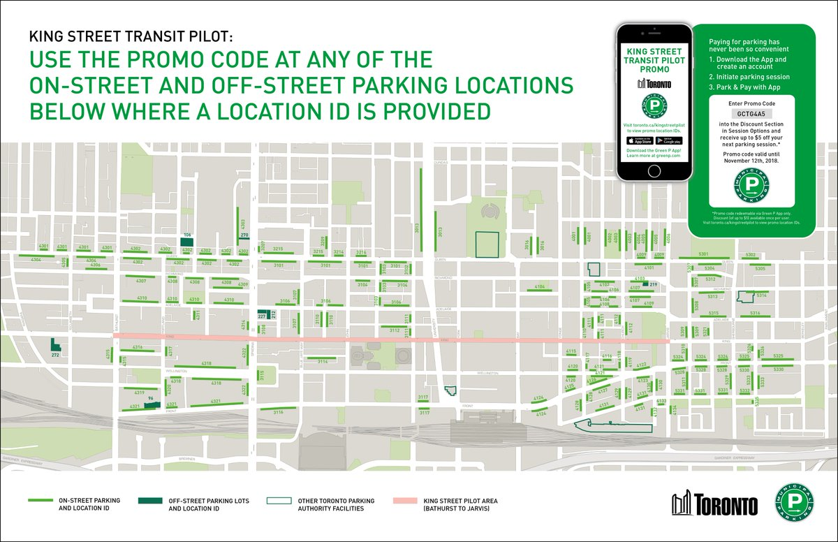 "TO Transportation on Twitter: ""The #CityofTO and @GreenPParking together  are offering up to $5 off parking in the area surrounding the  #KingStreetPilot ..."