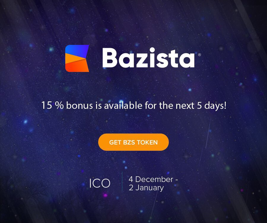 Great news! There's unique opportunity to get 15% bonus during next 5 days! Don't miss the chance!  #Bazista #ICO #tokensale #eCommerce #Cryptocurrencies #bitcoin #ethereum #blockchain #blockchainlife #finance #fintech #technologies <br>http://pic.twitter.com/1XMBsh0bIQ