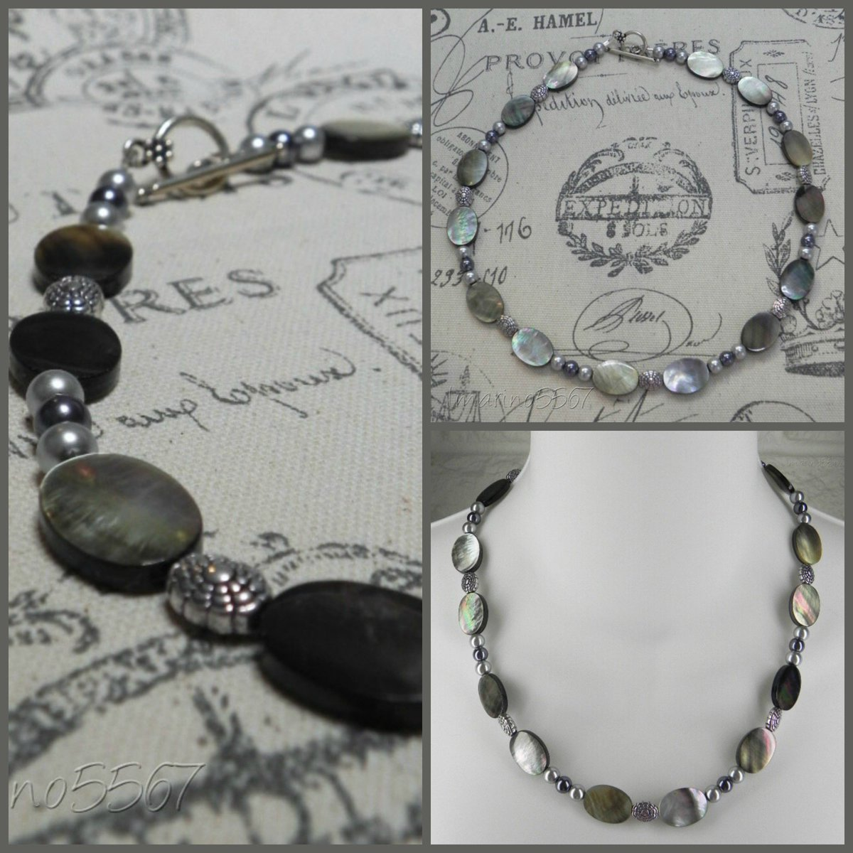 Black Lip Shell Glass Pearl Oval Silver Spacers Ladies 19&quot; #Necklace #Handmade  http:// tinyurl.com/yaaykweg  &nbsp;   #ebay #jewelry #fashion #gifts #StockingStuffers #shopsmall #buyhandmade #smallbiz<br>http://pic.twitter.com/nktpe5ezYs
