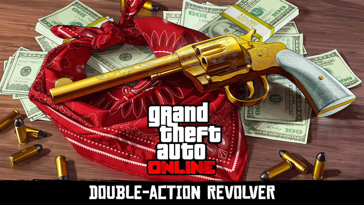 Unlock the Double Action Revolver in #GTAOnline and Red Dead Redemption 2.  Complete the Headshot Challenge in Freemode for a GTA$250,000 reward and unlock it for future gun-slinging exploits in Red Dead Redemption 2.  https://t.co/jymd3zXH16