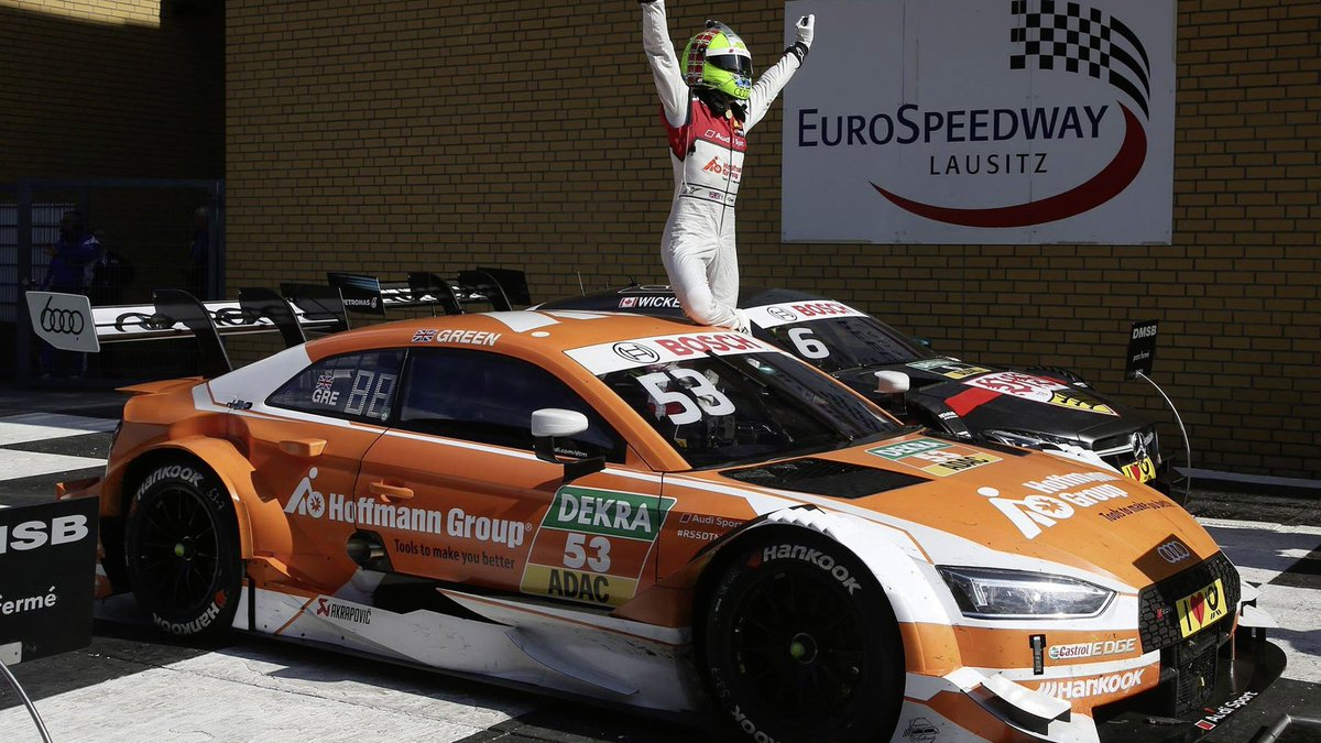 A year full of memories: Jamie Green did it again by winning on Sunday at the Lausitzring. How would you celebrate a race win, also by standing on your car? #LeagueofPerformance #DTM #tb