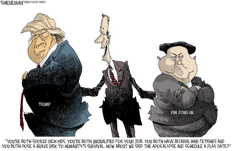Editorial cartoon by Drew Sheneman #Donald #Trump #DonaldTrump #NorthKorea #KimJongUn #WWIII<br>http://pic.twitter.com/K5Kw53ZKfK