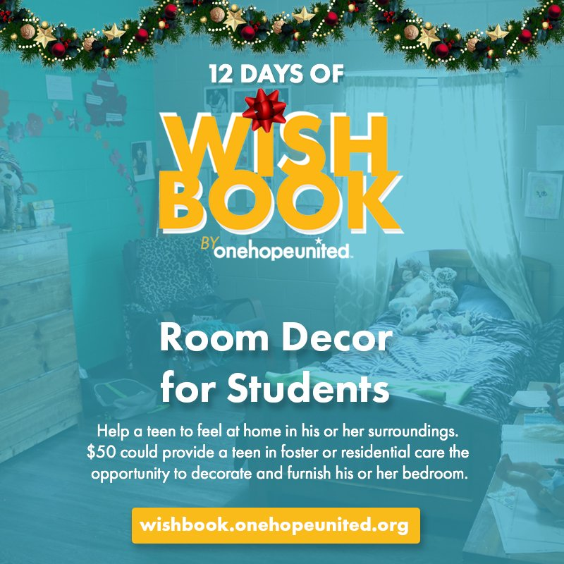 test Twitter Media - Day 5 | $50 could provide a teen in foster or residential care the opportunity to decorate and furnish his or her bedroom. So far, your generosity has allowed us to raise nearly $1,500 for room decor! Help make a teen feel at home today: https://t.co/neE4hA4NmV https://t.co/h9sPNZ23r1