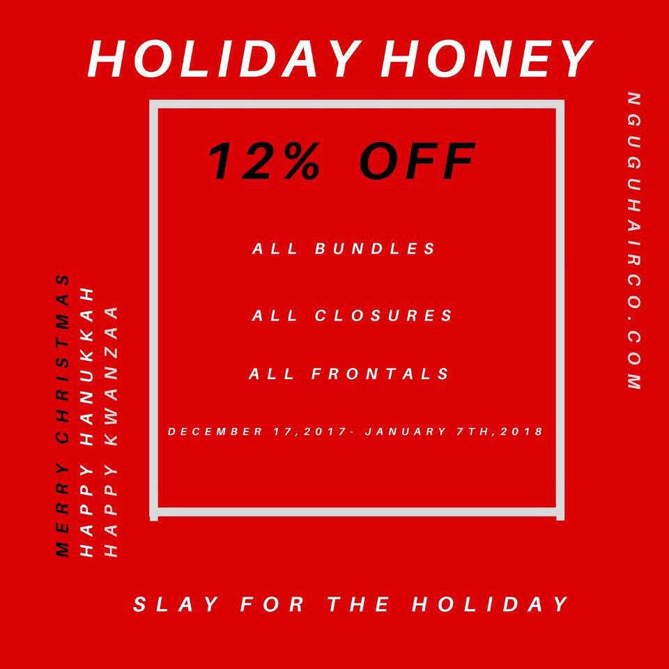 On the third day of Christmas, Nguvu gave to me 12% Off SALE for a #HOLIDAYHONEY !   Shop with us today on http://Nguvuhairco.com    Use the code #holidayhoney for 12% of your purchase❤️ #Nguvubabe #GoNguvu #Weave#Nguvubarbie #hairstyles  #HolidaySale