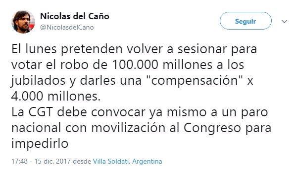 RT @FerIglesias: Otro más. Sos diputado, De Caño! Cómo vas a llamar a impedir que funcione el Congreso! https://t.co/F6BoUBJPnY