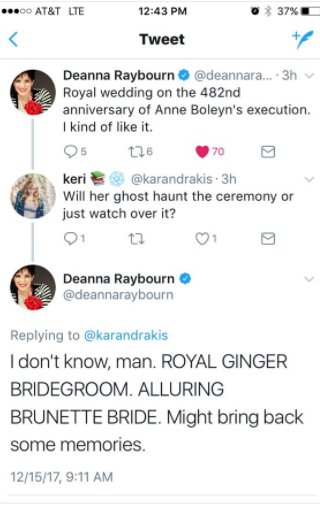 Y&#39;all! I can&#39;t. The royal wedding is on the anniversary of Anne Boleyn&#39;s death. AND THE PRINCE IS NAMED HENRY.  #anneboleyn #royalwedding #Icant <br>http://pic.twitter.com/JWh1BQnTWP