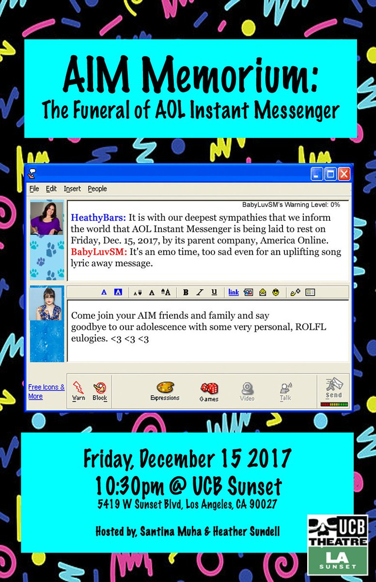 Let's all grieve together tonight at @ucbtla! Wear black and bring your  screen name while we eulogize the most defining communication tool our time!