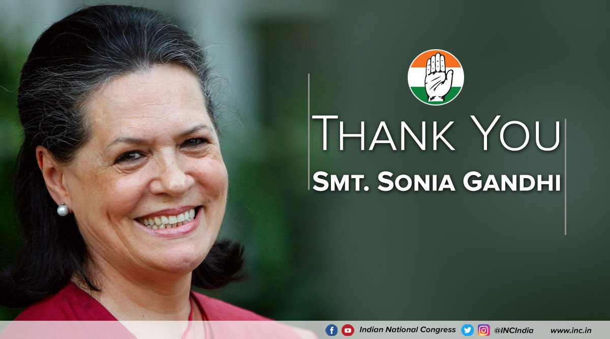 To our longest-serving president Smt. Sonia Gandhi, who worked relentlessly for the ideals of the Congress Party, & through it for the country; we express our utmost gratitude. A guiding light you will always be.  #ThankYouSoniaGandhi#CongressPresidentRahulGandhi