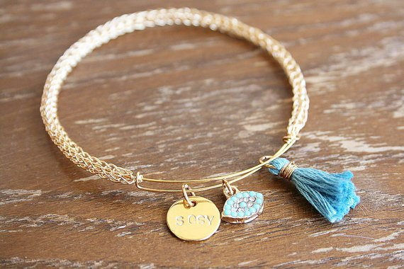 GOLD Expandable Wire Bangle Charm Monogram Initial Bracelet, Tassel #Boho Women Bracelet, Wire #Crochet Bangle Bracelet, Gift For Her #jewelry #etsy #epiconetsy #shopping #shopsmall #jewelryonetsy #etsyseller #handmade  http:// etsy.me/2Av0SUZ  &nbsp;  <br>http://pic.twitter.com/YqOHm8t43r