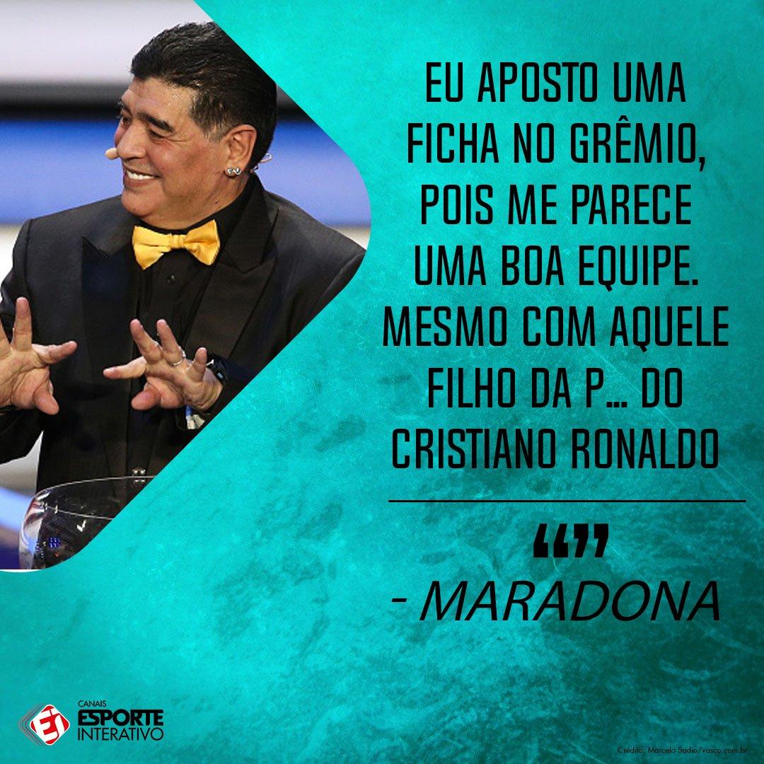 SEMPRE POLÊMICO! Maradona, além de apostar no Grêmio, parece não curtir tanto o Cristiano Ronaldo hahaha. Ele soltou essa aí em entrevista ao jornal AS!