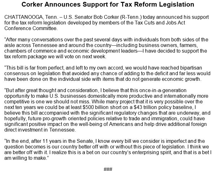 JUST IN: Sen. Bob Corker announces support for GOP tax reform bill