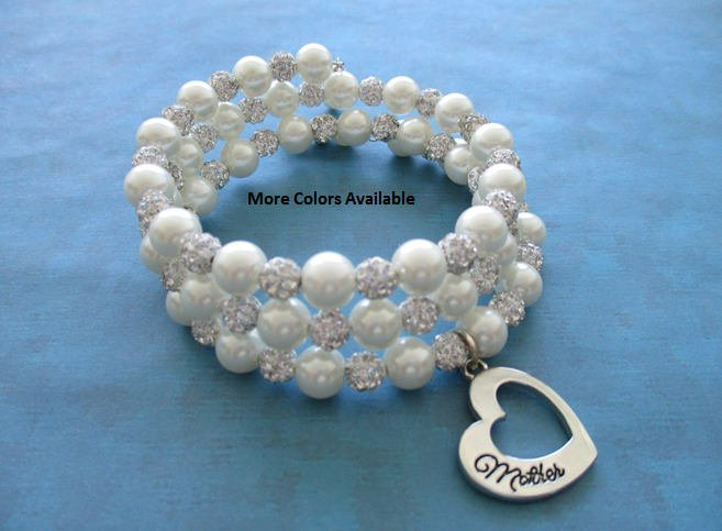 Mother Pearl &amp; Silver Clear Pave Crystal Expandable Charm Bracelet-Mother gift-Mother jewelry-Mother bracelet-Mother,B1613 #jewelry #bracelet #birthday #christmas  #silver #women #birthdaygift #mothersgift #mother #motherdaughtergift  http:// etsy.me/2ABjXV6  &nbsp;  <br>http://pic.twitter.com/Rn18e4vDbf