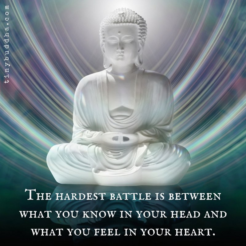 The hardest battle is between what you know in your head and what you feel in your heart.