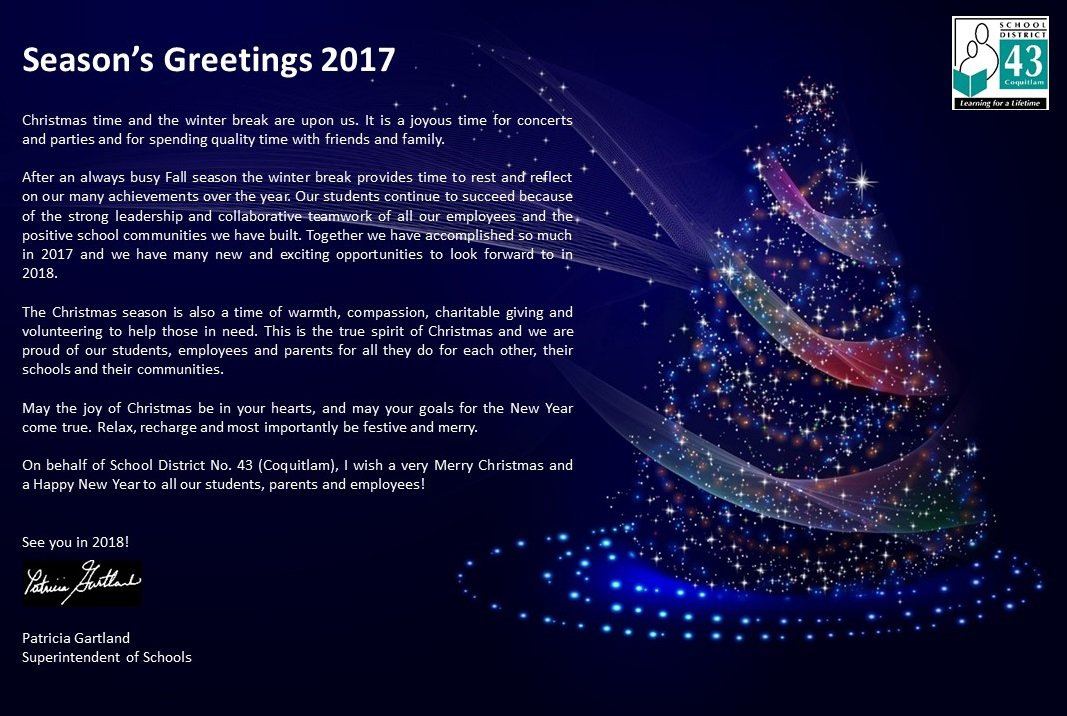 School district 43 on twitter seasons greetings to sd43 students 230 pm 15 dec 2017 m4hsunfo