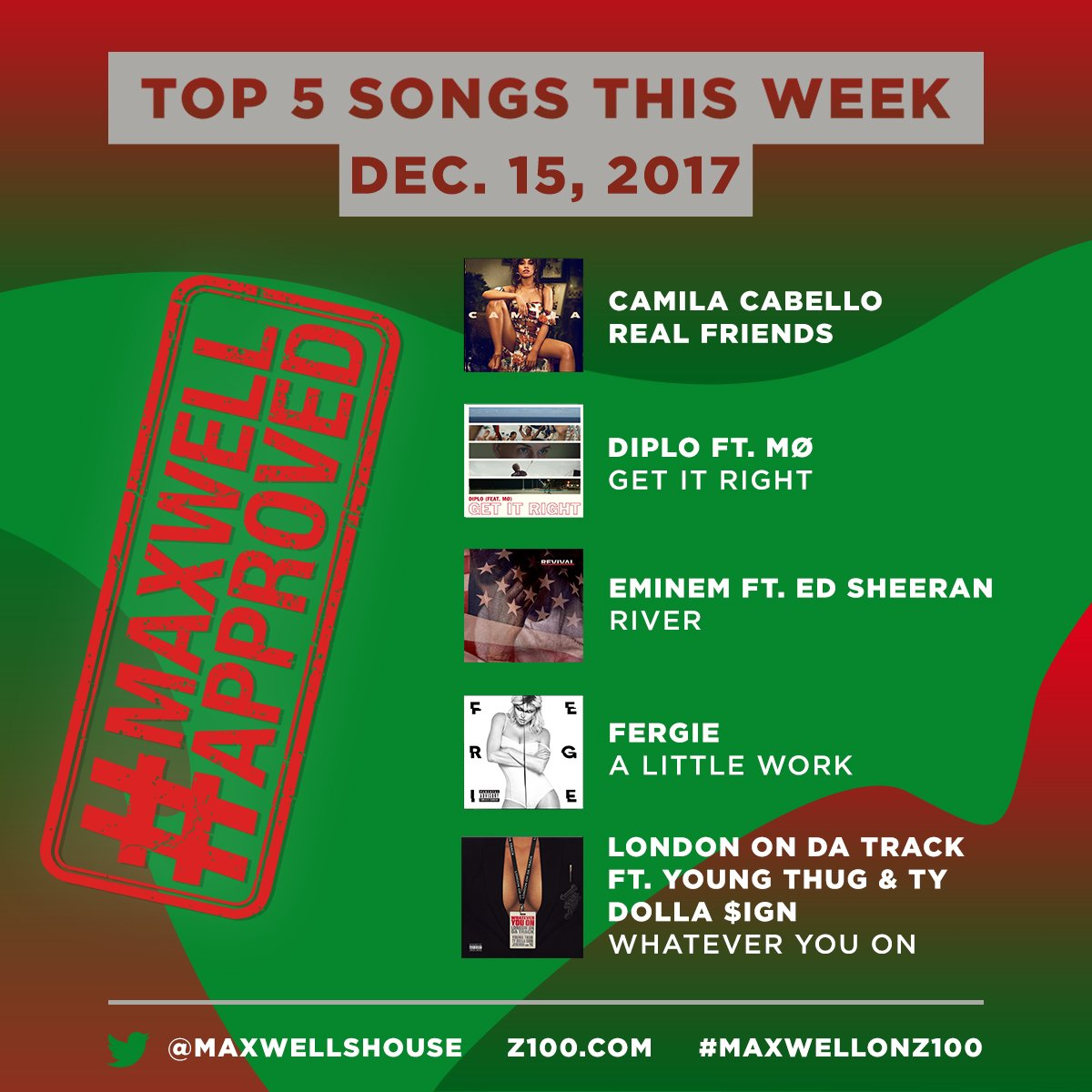 🔥BOPS🔥  Here are @MaxwellsHouse's top 5⃣ tracks for u to add to your playlist this weekend!  👏👏#MaxwellApproved  @camilacabello97 - Real Friends@diplo  +@MOMOMOYOUTH  - Get it Right@Eminem  +@edsheeran  - River@Fergie  - A Little Work@LondonOnDaTrack  - Whatever You On