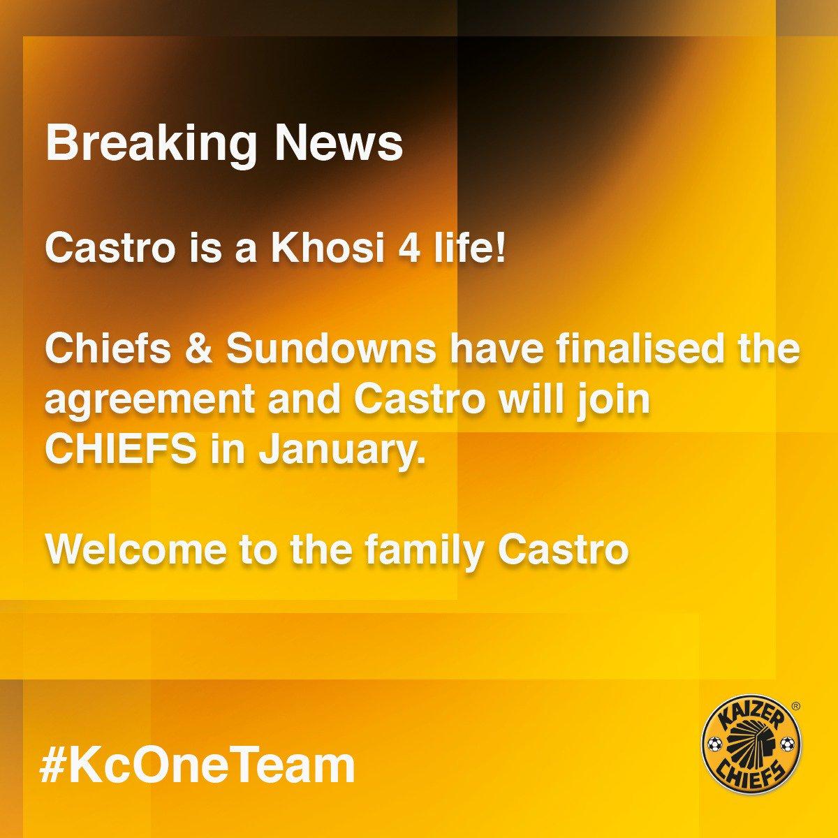 Breaking News: Leonardo Castro will join us in January #Amakhosi4Life #KCOneTeam
