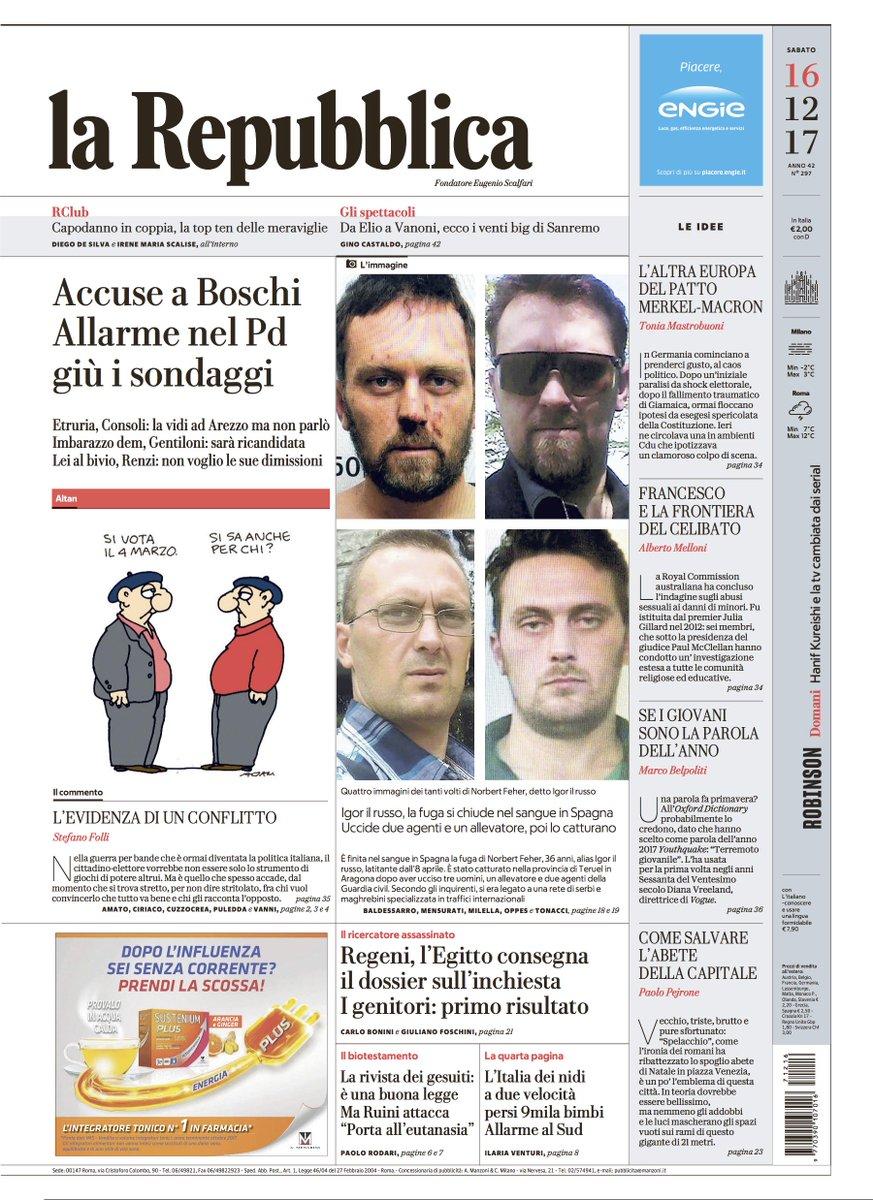 Accuse a Boschi: allarme nel Pd, giù i sondaggi - La prima pagina di Repubblica di oggi https://t.co/LZaZp2FObT