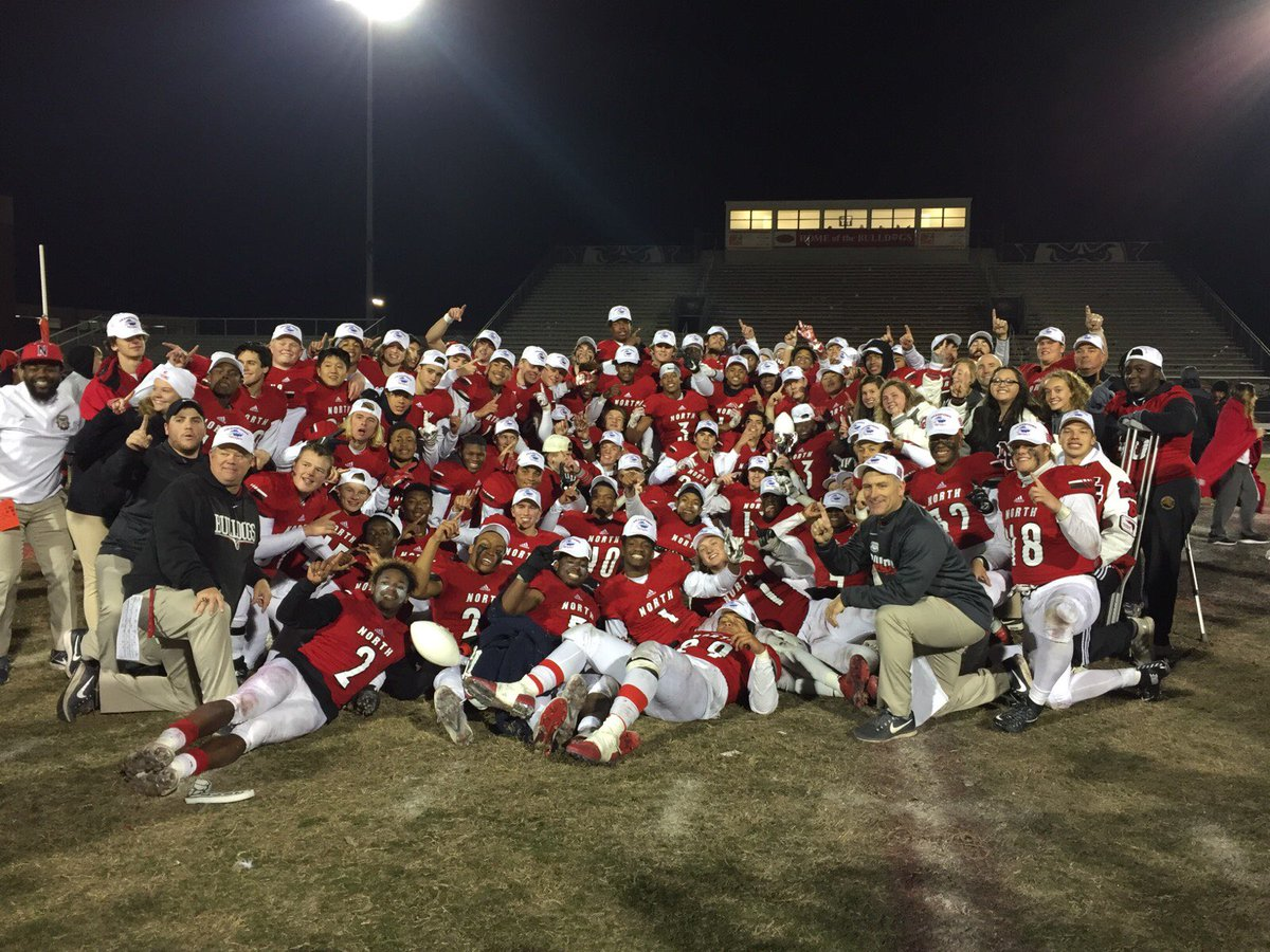 The 2017 North Gwinnett Bulldogs football celebrate their Class 7A State Championship win over Colquitt County on Friday night. (Photo from Warren Ericson / Twitter)