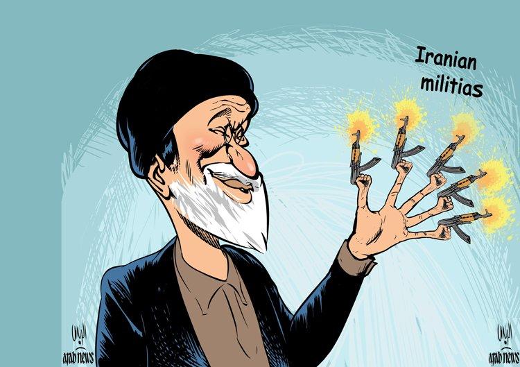 Arab News cartoon by #Mohammed Rayes #Iranian militias