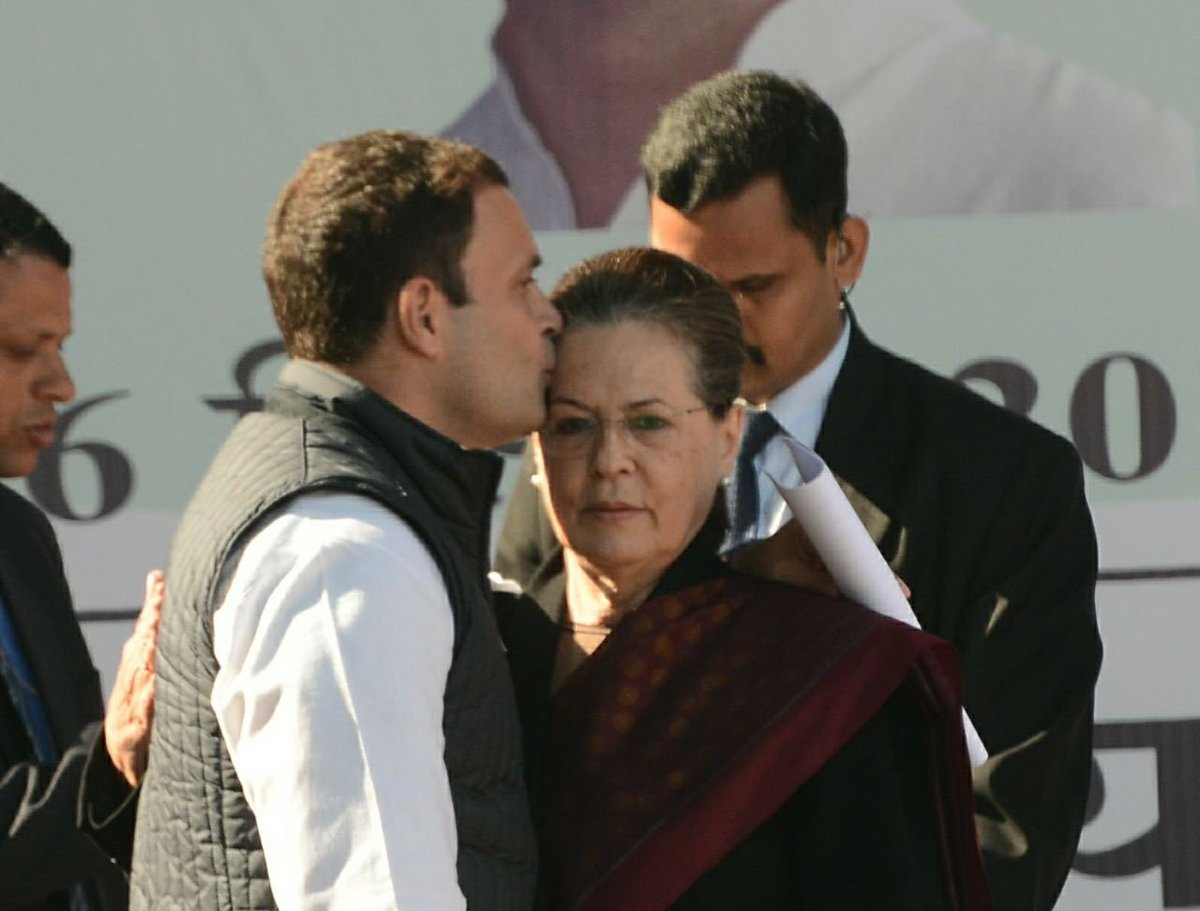 .@INCIndia President @OfficeofRG with his mother and predecessor Sonia Gandhi after taking over. Pic @sandeep662003 https://t.co/muBCTFySGP