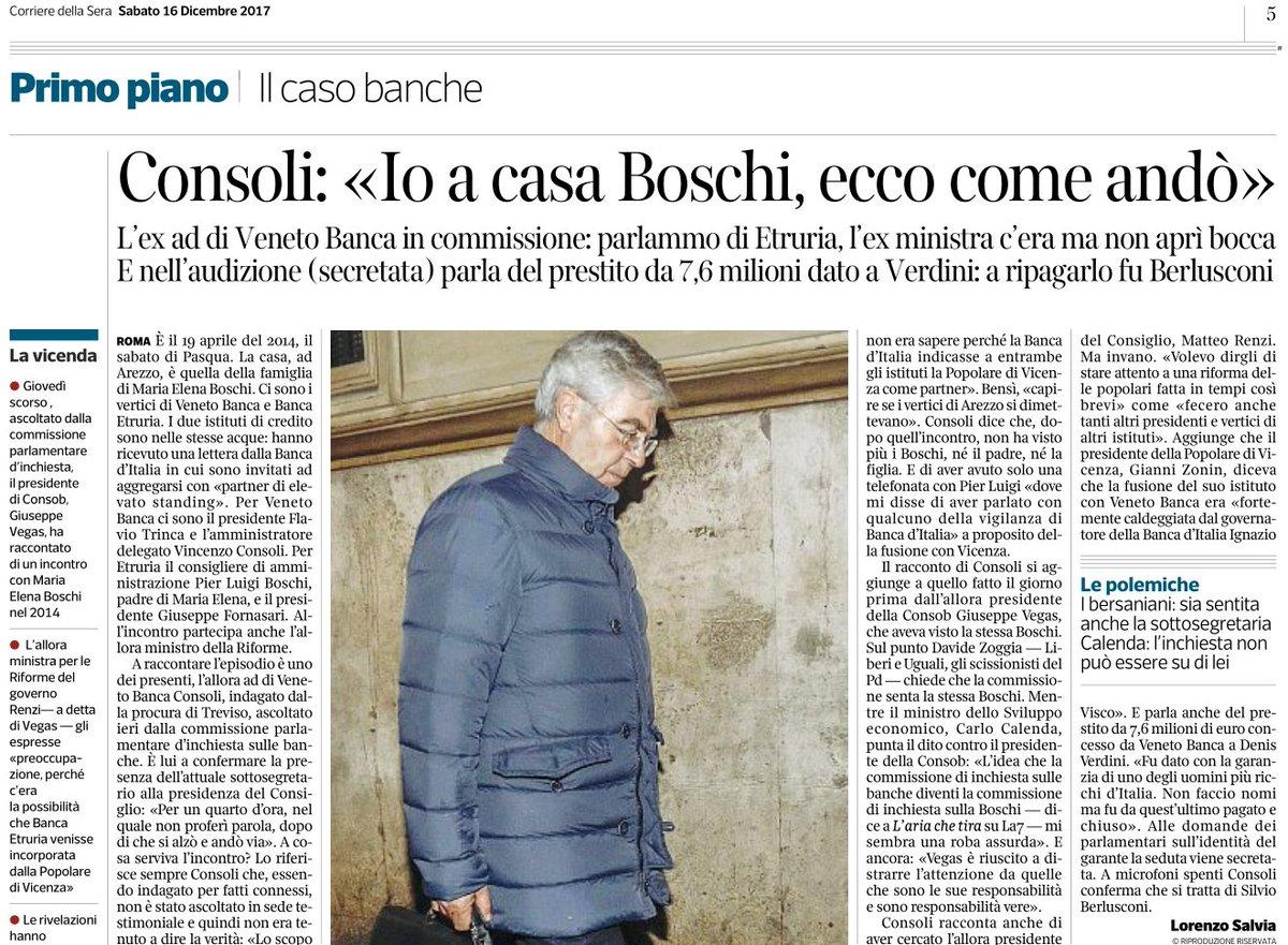 Al CorSera pare ci 'diano dentro'...  Ex Ad di Veneto Banca Consoli: «Io a casa Boschi, ecco come andò»