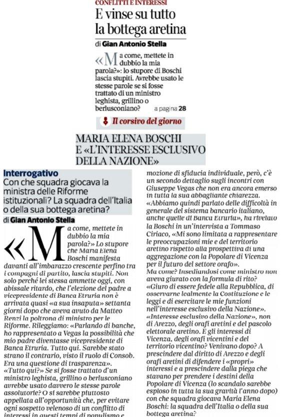 G.A. Stella sul CorSera: M.E. #Boschi e «l'interesse esclusivo della nazione». Con che squadra giocava la Min. delle Riforme istituzionali? Con la squadra dell'Italia o della sua bottega aretina? https://t.co/TeHTqr3oXO