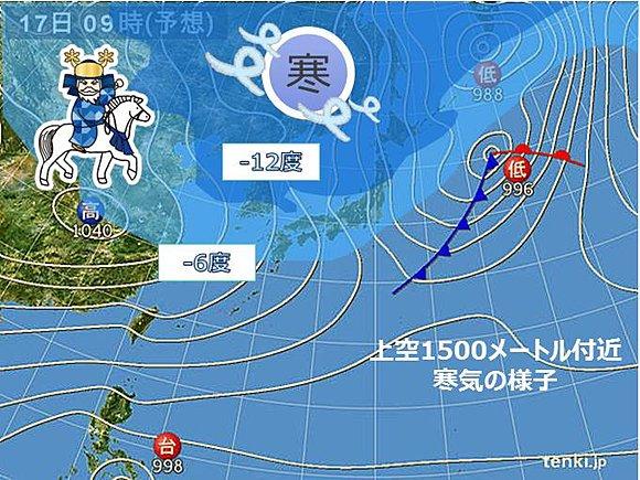 【防寒を】あす17日は真冬並みの寒さに、冬型の気圧配置強まる https://t.co/s60ICFuyGE  強い寒気が流れ込み、全国的に真冬並みの寒さになる予想。西日本も含めて最高気温が10度以下のところがほとんどとなりそうです。