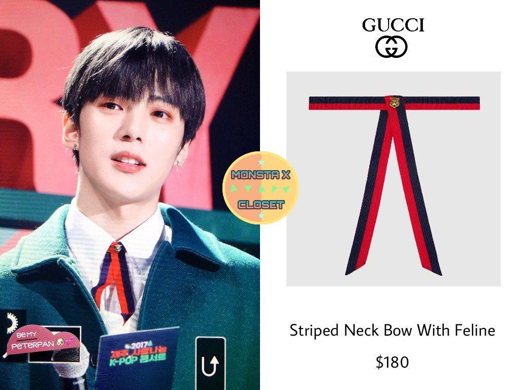 Gucci Striped neck bow with feline rGFjJKs