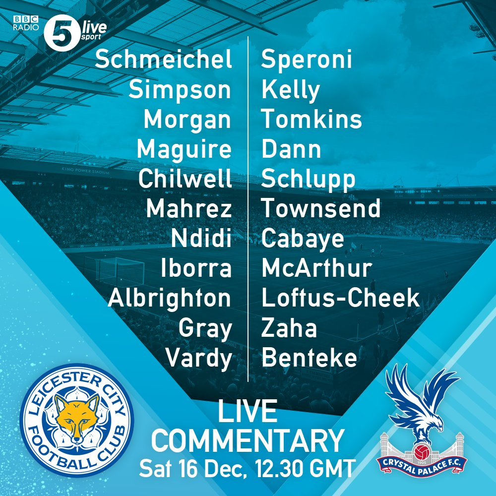 #LEICRY team news:  Two changes for each side.  Gray and Iborra in for #LCFC  McArthur and Kelly in for #CPFC  Build-up:  📻 https://t.co/h3GKPeCtgl
