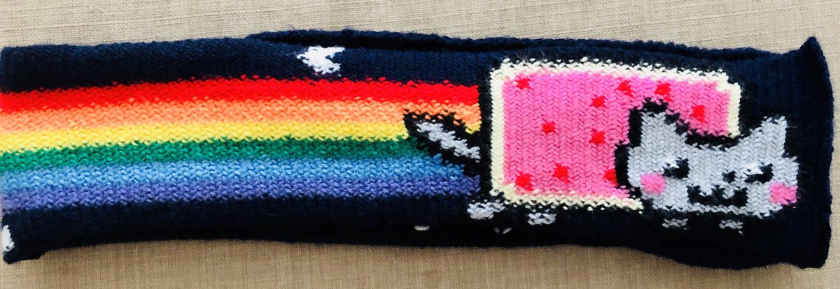 I got some of the colours and rainbow dimensions wrong, but I FINALLY FINISHED OFF THE NYAN CAT SCARF I STARTED KNITTING YEARS AGO. https://t.co/ypfnJV4MlO