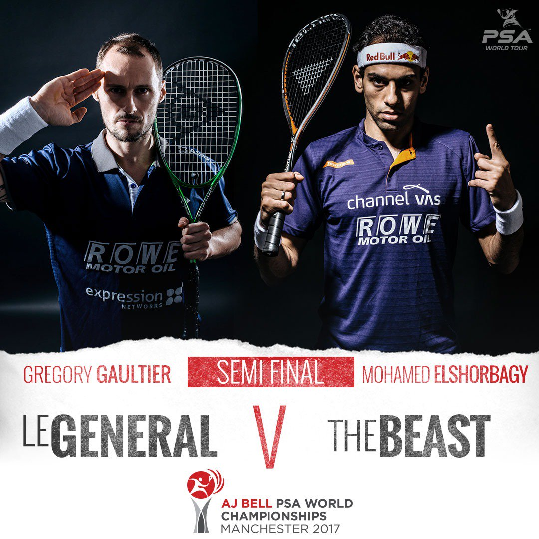 test Twitter Media - You do not want to miss this one...  Gregory Gaultier takes on @MoElshorbagy in the opening men's @PSAWorldChamps semi-final!  Watch it now on @SquashTV, @Eurosport Player, @btsport and more👀 #AJBellWorldChamps https://t.co/hdVPf7xde7