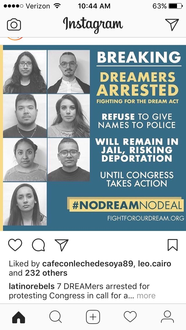 Seven dreamers arrested for protesting congress. https://t.co/J1Y447Udbx