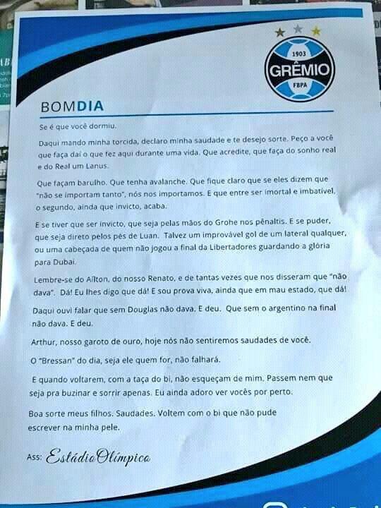 Bela carta que o estádio Olímpico mandou...