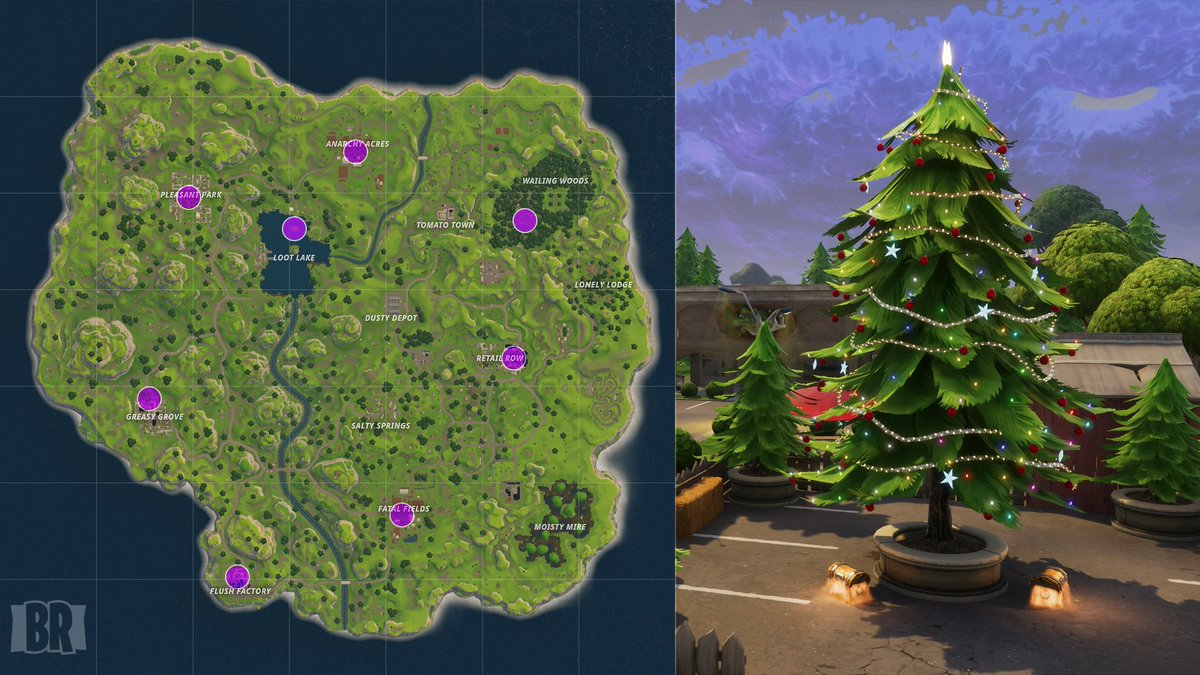 Fortnite News Fnbr News On Twitter Christmas Tree Locations For