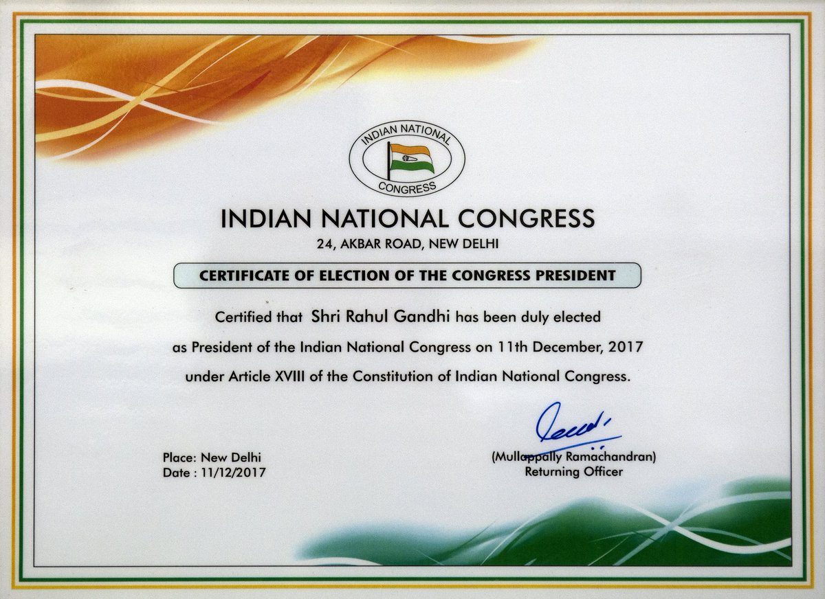 The certificate of election of the Congr...