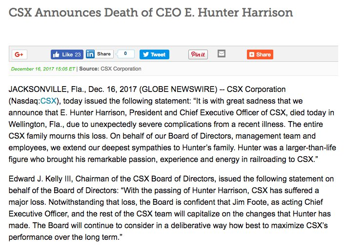 $CSX announces the death of CEO Hunter Harrison -- just two days after the company announced he was going on medical leave.