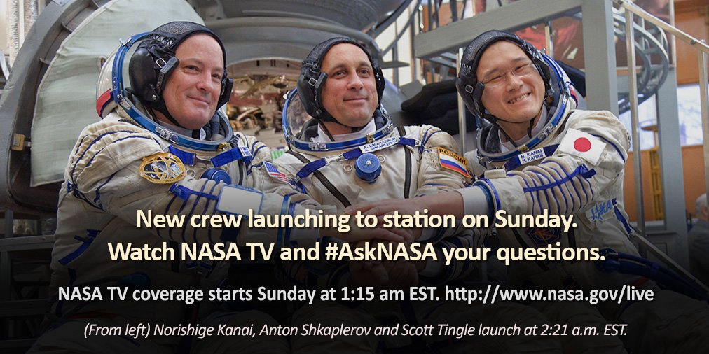 .@NASA TV is broadcasting live the launch of three Expedition 54 crew members Sunday at 2:21 a.m. EST on a two-day trip to the station. Coverage begins at 1:15 a.m. Got questions? #AskNASA https://t.co/yuOTrZ4Jut