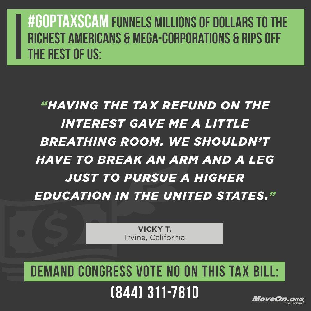 .@RepJeffDenham, @DarrellIssa, @SteveKnight25, @DanaRohrabacher, @RepEdRoyce, @RepDavidValadao, @RepMimiWalters this is how the @GOP #TaxScamBill will impact Vicky in #CA. Vote NO & #ProtectWorkingFamilies