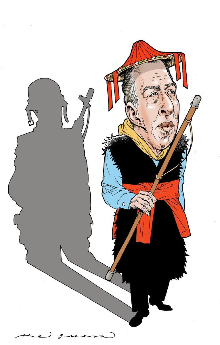 Aplauso de pie para el gran maestro @ahelguera. Propongo 'El farsante y su sombra' como título o ¿Cuál propondrías tú?