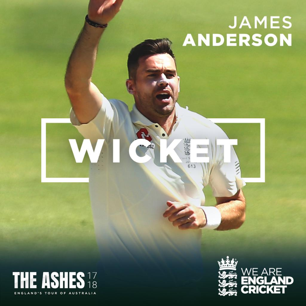 Anderson gets Mitch Marsh in the first over of the day for 181.  AUS 549/5 #AUS  Follow: https://t.co/2ns4ffFFc4 https://t.co/cO1nLdrEwl