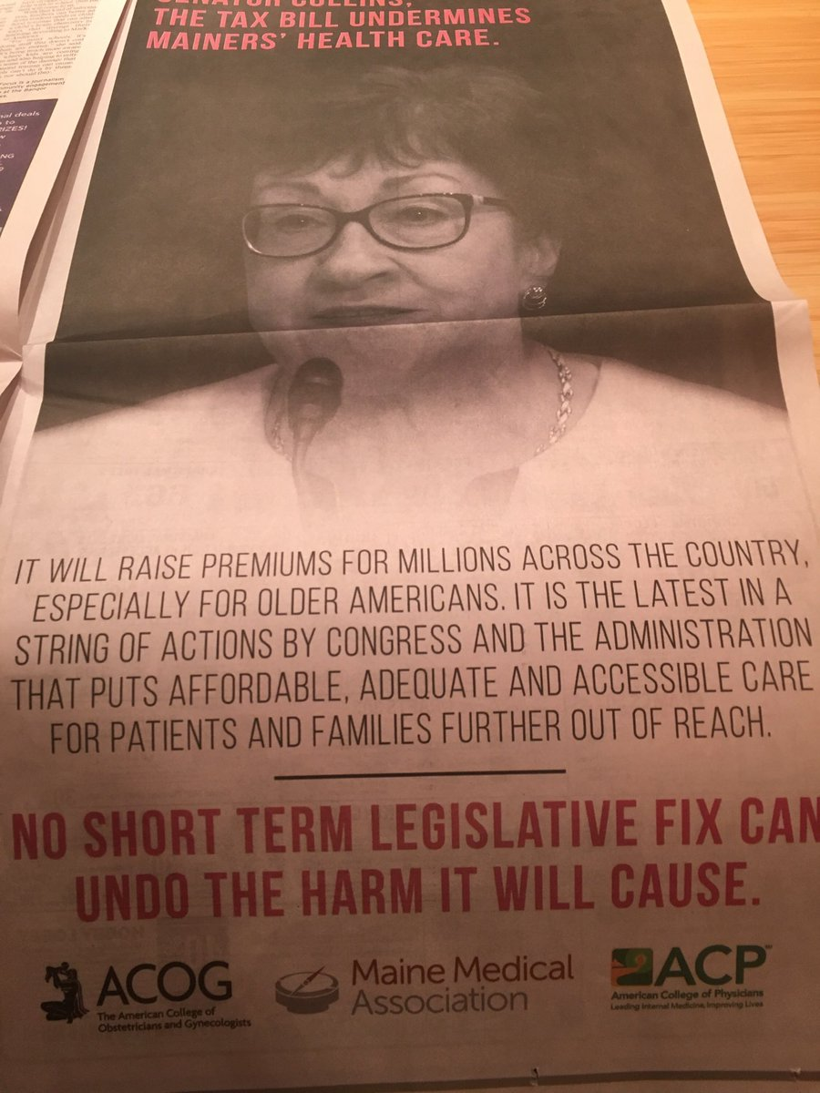 RT @woodhouseb: Full page ad in Bangor Daily News targeting @SenatorCollins on health repeal in tax bill https://t.co/f1mc2LsTIa