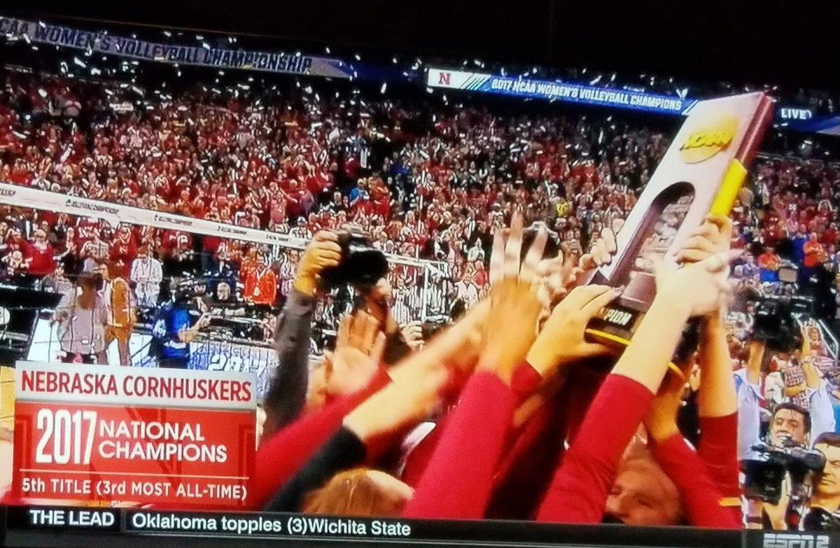 Forget football. Nebraska wins national championship in volleyball, winning tonight in Kansas City. #GBR #Nebraska
