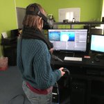 This is @TheSuziMitch's first VR experience and she's play testing our prototype for us :D cc @ValeourM