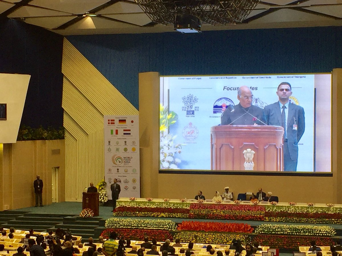 """""""Close to 16% of India's #Guava crop is wasted as 10% of our #Mango and #Apple crops. I am sure, the deliberations @worldfoodindia conference will take us closer to preventing such regrettable wastage."""" - Hon'ble President, #RamNathKovind on importance of food processing.<br>http://pic.twitter.com/PQFepzFkiD"""