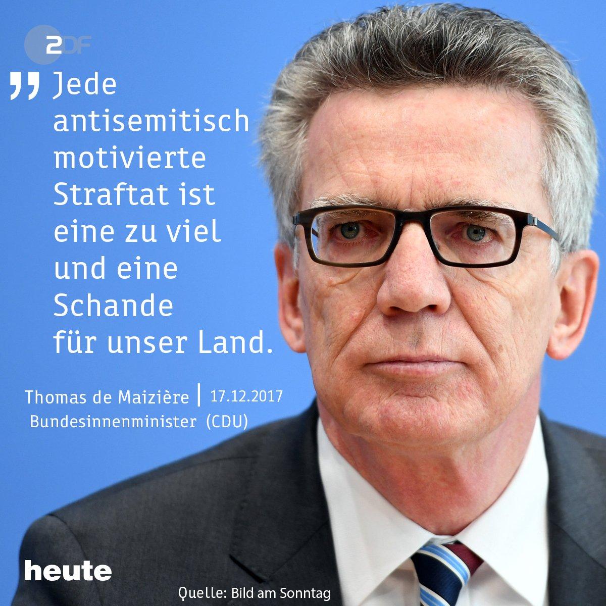 Bundesinnenminister de Maizière hat sich nach den israelfeindlichen Demonstrationen in #Berlin für einen Antisemitismusbeauftragten des Bundes ausgesprochen. https://t.co/Fi2M2mQKKe